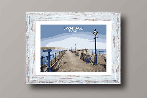 Swanage in Dorset, England - Signed Travel Print by David at Salty Seas