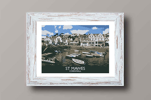 St Mawes in Cornwall, England - Signed Travel Print by David at Salty Seas