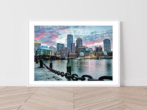 Boston, USA - Signed Travel Print by David at Salty Seas