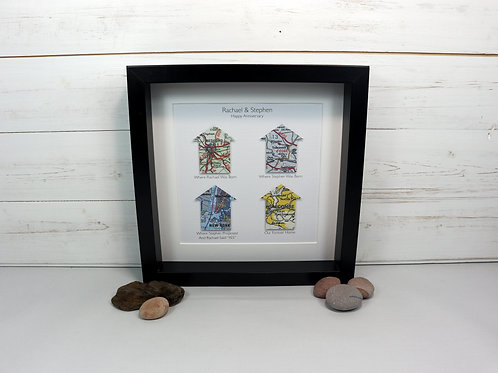 Personalised Handcut House Shaped Maps Picture