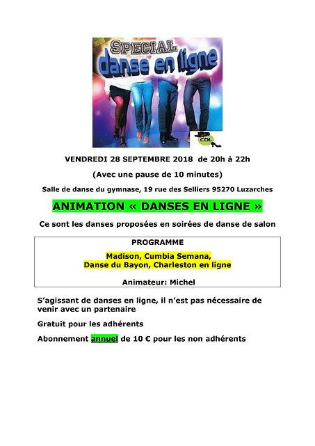Animation DANSES EN LIGNE le 28-09-2018_