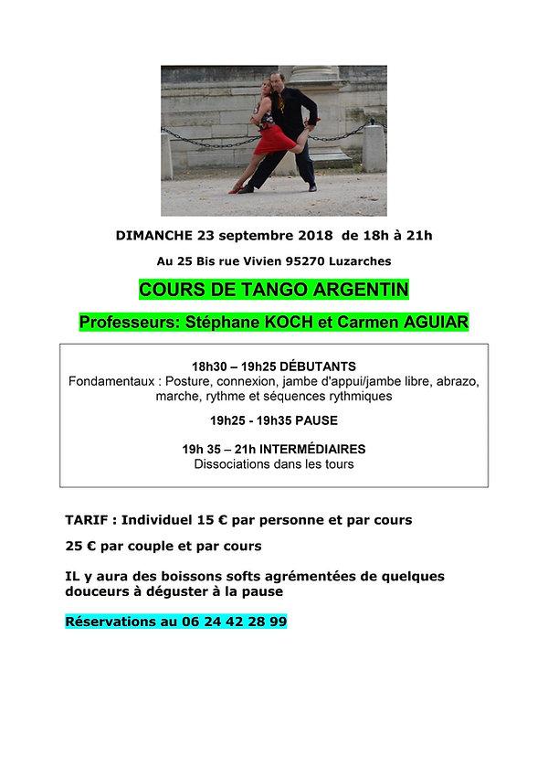 Affiche TANGO ARGENTIN 23 septembre 2018