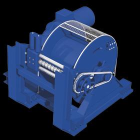 Treuil électrique 400V 30 tonnes Manufor avec trancannage de guidage du câble pour application mooring offshore marine tugging rigging, moteur électrique étanche
