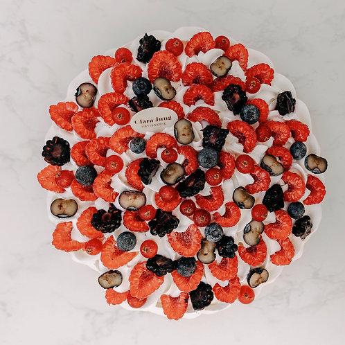 Naked cake fruits rouge, verveine