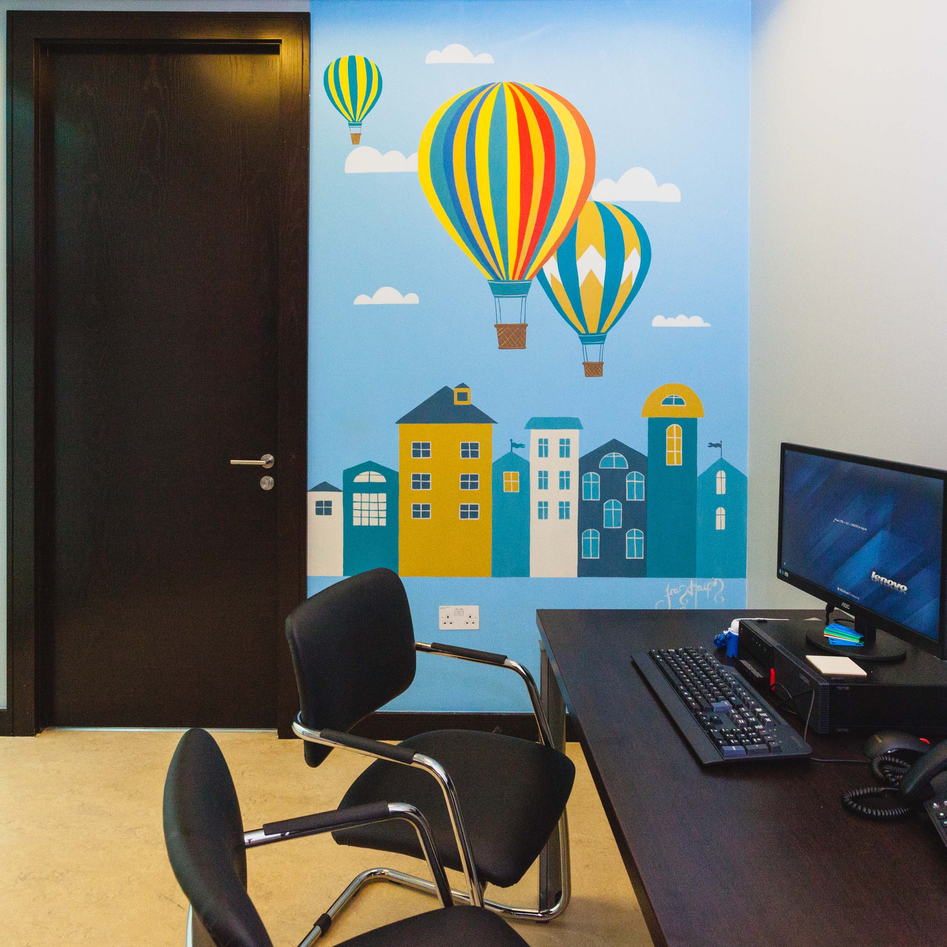 baloon mural with office