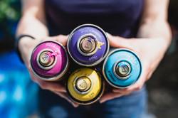 spray cans for garden mural