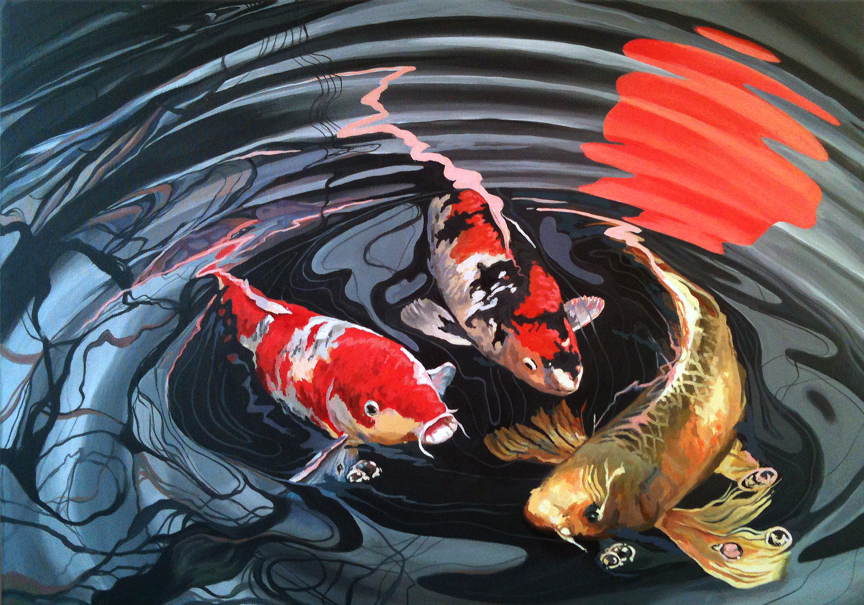 Fran Halpin. Coy Carp series. Acrylic on canvas