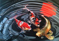 Fran Halpin. Coy Carp series. Acrylic on canvas