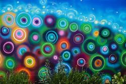 spray-paint and acrylic close up