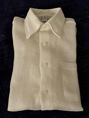 Ivory Linen Mesh Short Sleeve Shirt