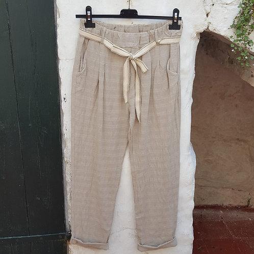 Pantalón lino cuadros