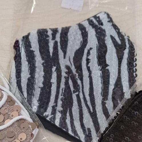 Mascarilla Fiesta Lentejuelas Zebra