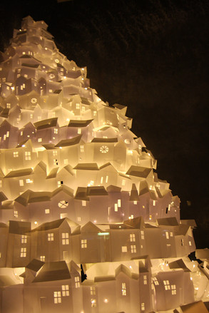 Hill of glowing houses