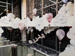 Google HQ, Dublin, 2018 snow cloud scene window display