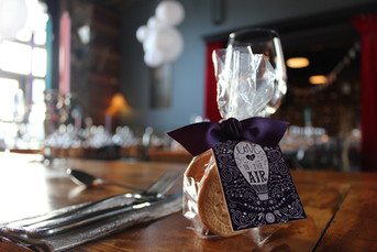Guest Favour S'mores tickets and ribbon