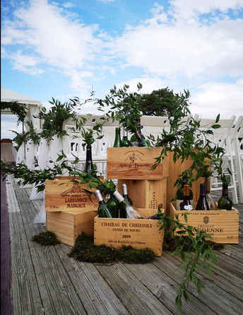 Wine boxes with greenery