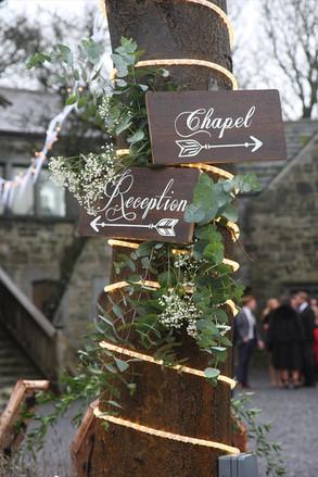 Chapel & Reception signs