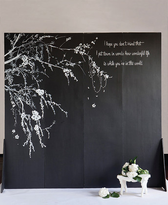 Blackboard Backdrop - Cherry Blossom custom artwork