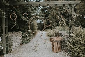 Wood circle backdrop