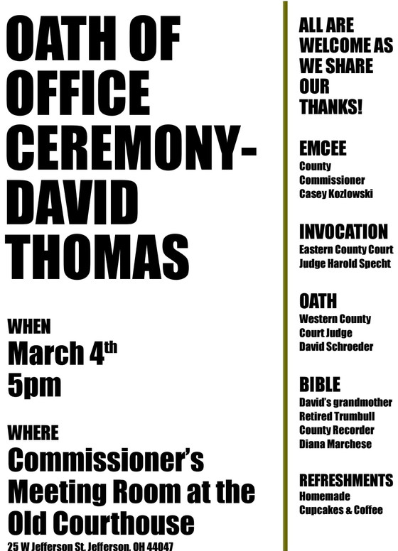 Oath of Office Ceremony March 4th!