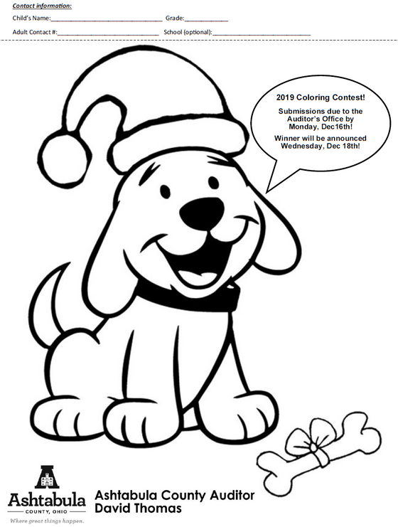 County Auditor David Thomas Holds Dog License Coloring Contest