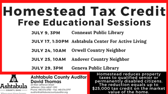 Homestead Tax Credit Education Sessions
