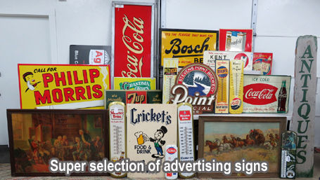 photo of advertising signs in the auction