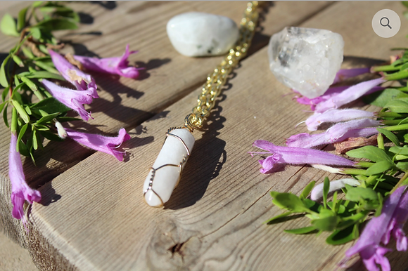 White Clear Quartz with Gold Necklace
