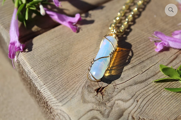 Opal Stone with Black Rope