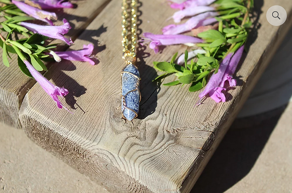 Blue Sodalite Charm with Gold Necklace