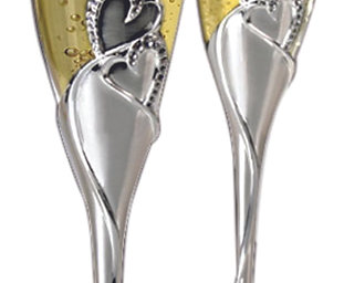Silver Hearts  Wedding , Anniversary. Special Flute Set