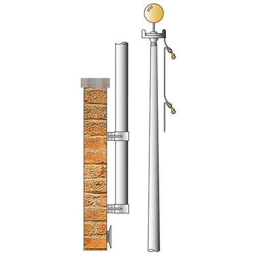Estate Tapered Shaft Vertical Wall Mount Aluminum Flagpoles