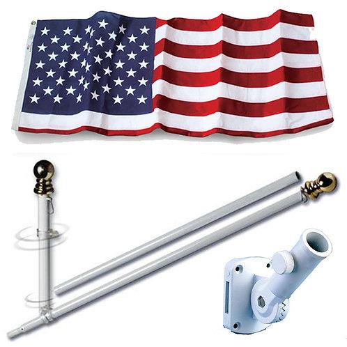 House Mounted Spinning Flagpoles with 3x5 US NYLON Flag & 13 Position Bracket