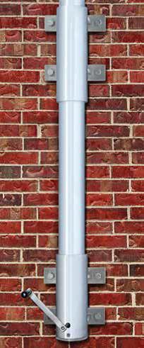 Internal Halyard Vertical Wall Mount Aluminum Flagpoles