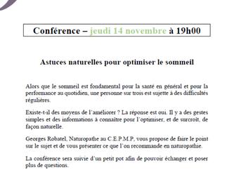 Conférence du 14/11 : améliorer son sommeil