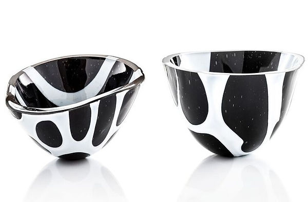 Ebb and flow vessels, black to white and back again.  Helen Eastham Studio.  Designer/Maker. Fused-glass.  Newquay.