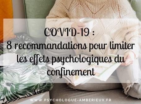 COVID-19 : 8 recommandations pour limiter les effets psychologiques du confinement