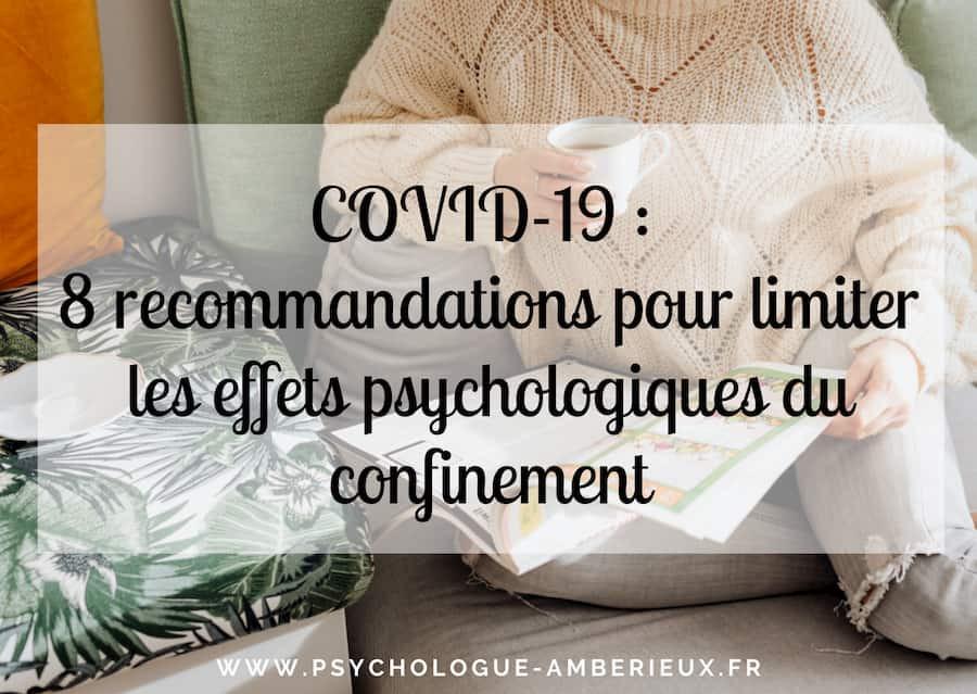 covid-19 recommandations conséquences psychologiques confinement coronavirus
