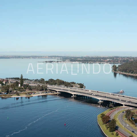 • Aerial view of Bridge over Elizabeth Quay Western Australia •  4K Log available