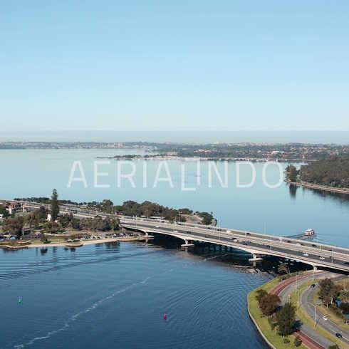 • Aerial view of Bridge over Elizabeth Quay Western Australia •  4K Log available