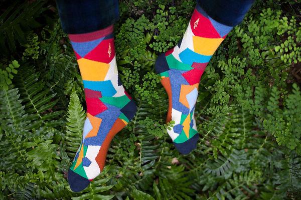 Chaussettes multicolores dans la nature. Chaussettes brodées fabriquées en France. Jermaine Toulouse.