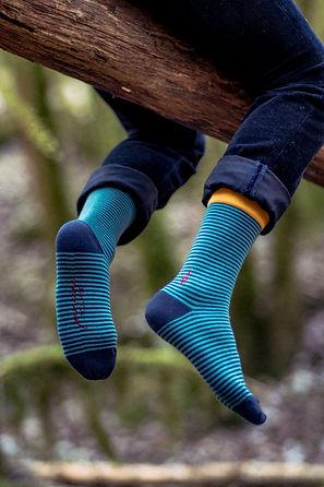 Chaussettes rayées dans la nature Jermaine Toulouse. Chaussettes fabriquées en France.