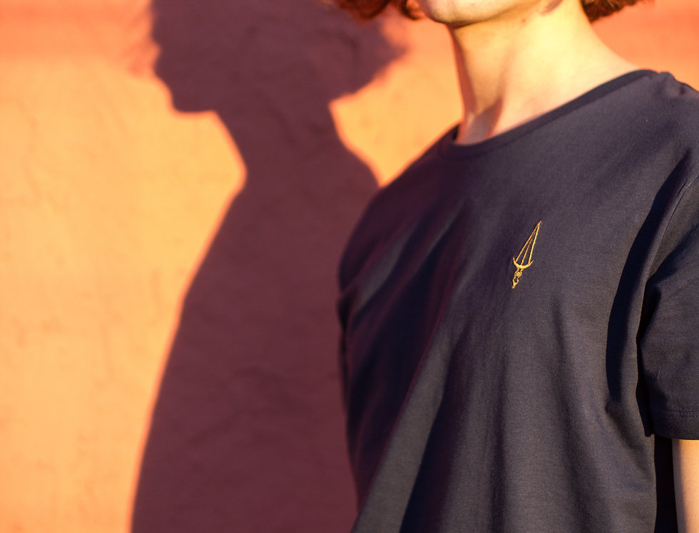 Tee shirt Blue Navy / Logo Or (unisexe)