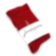Chaussettes rouges chinées avec une broderie beige. Chaussettes fabriquées en France.