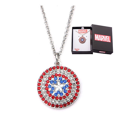 Captain America Shield Bling Gems Pendant Necklace