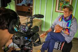Filming an interview with Taita Querubin Queta
