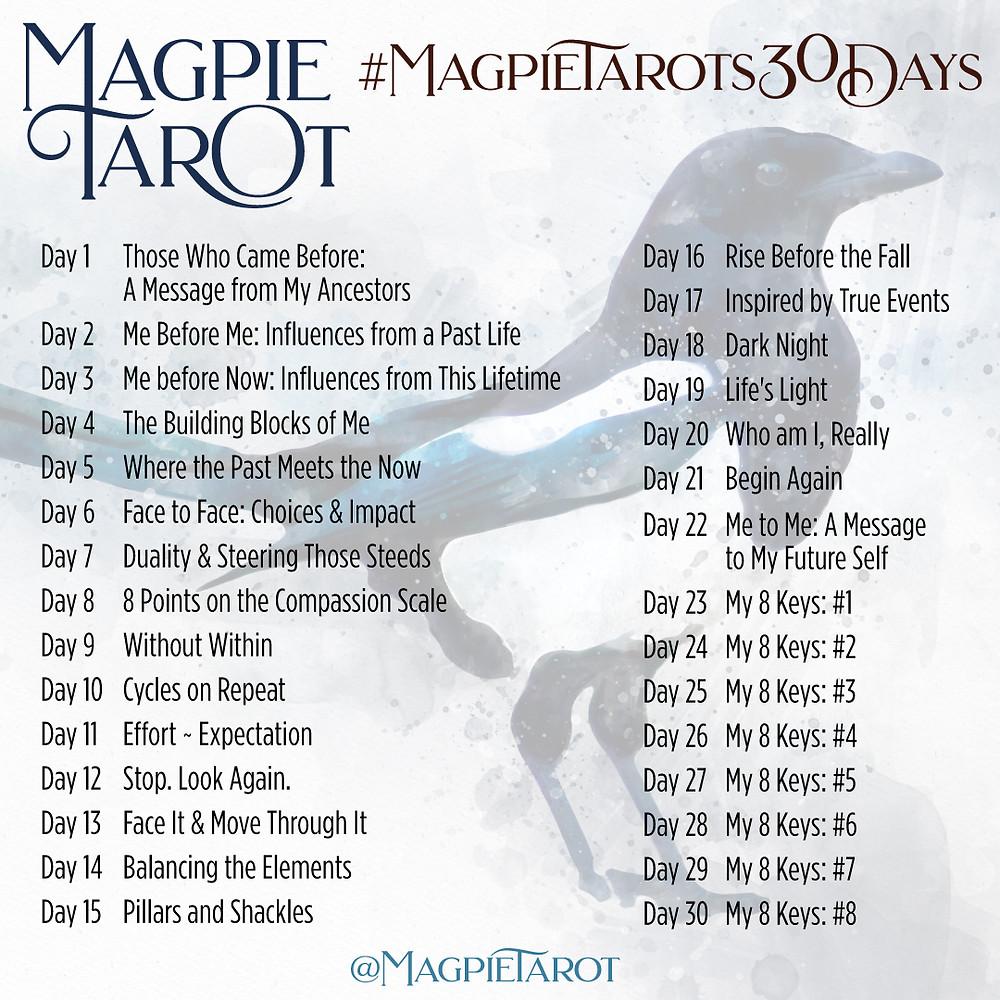 Magpie Tarot's 30 Days prompt list