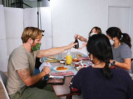 breakfast, production team, orange juice