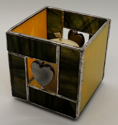 Yellow & Green Heart Candle Holder