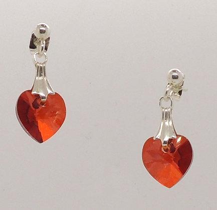 Crystal Orange Heart Earrings